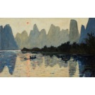 Fisherman on the Li River in Guangxi (China)