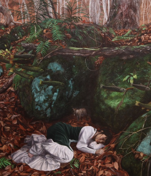 Asia Contemporary Art The Maiden Sleeping In Front Of Symbolic Rock